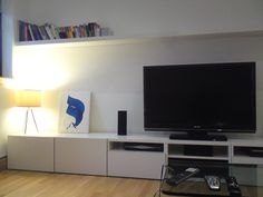 TV storage with shelf above - Ikea Besta Ikea Tv Wall Unit, Media Wall Unit, Tv Ikea, Tv Stand Decor, Wardrobe Design Bedroom, Quirky Home Decor, Tv Storage, Home Living Room, Decoration