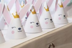 Loving the paper hats at this Cute Bunny Confetti Birthday Party! See more party ideas and share yours at CatchMyParty.com #bunny #partyhats