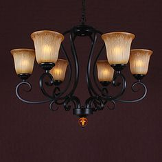 60W*6 Vintage 6 Light Up Lighting Chandelier With Distressed Shade - GBP £ 184.59