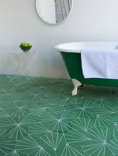 Green tile is trending in interior design. Here are 35 reasons why we can't get enough green tile. For more interior design trends and inspiration, visit domino. Bad Inspiration, Bathroom Inspiration, Bathroom Interior, Home Interior, Bathroom Green, Design Bathroom, Bathroom Colors, Modern Bathroom, Bathroom Ideas