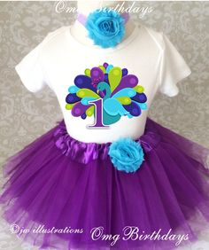 Fast Shipping - Birthday Purple Blue Peacock Bird first 1st Shirt & Tutu Set Girl Outfit baby Party Dress