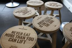 Robin Howie designed stools, brilliant fun, excellent laser engraving