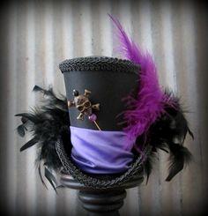 Voodoo Doctor Mini Top Hat, Alice in Wonderland, Mad Hatter Hat, Steampunk, Day… Voodoo Costume, Doll Costume, Costume Halloween, Costumes, Mardi Gras Hats, Alice In Wonderland Tea Party, Diy Hat, Top Hats, All Things Purple