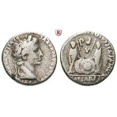 Römische Kaiserzeit, Augustus, Denar 2 v.-4 n.Chr., ss: Augustus 27 v.-14 n.Chr. Denar 17 mm 2 v.-4 n.Chr. Lyon. Kopf r. mit… #coins