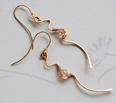 Unique Copper Wire Wrap Light Topaz Swarovski Crystal Lightning Earrings