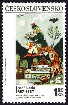 Stamp: The Water Demon by Josef Lada (Czechoslovakia) (Painter Josef Lada) Mi:CS 1825 Postage Stamp Design, Postage Stamps, Doodle Art Drawing, Going Postal, Mail Art, Stamp Collecting, My Stamp, History, Retro