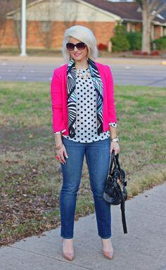 Pink Blazer and Polka Dots