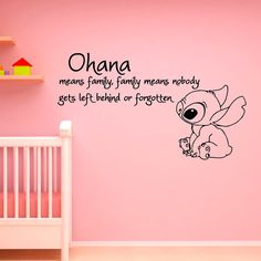 Ohana Means Family Means Nobody Get Left Behind or Forgotten Lilo and Stitch Wall Decal Vinyl Sticker- Wall Decals Nursery Kids Bedroom Disney Wall Stickers, Baby Wall Stickers, Cheap Wall Stickers, Baby Nursery Themes, Disney Nursery, Baby Room Decor, Nursery Wall Decals, Vinyl Wall Decals, Lilo E Stitch
