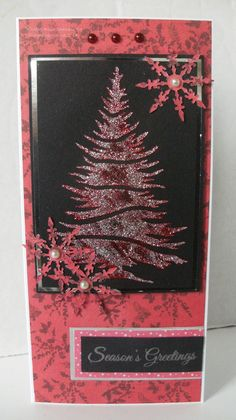 Handmade Christmas card. Imagination Crafts Fir Trees stencil, Red & Silver Sparkle Mediums.