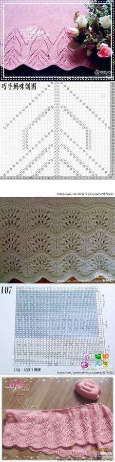 This Pin was discovered by irj Lace Knitting Stitches, Lace Knitting Patterns, Knitting Charts, Lace Patterns, Knitting Designs, Knitting Projects, Baby Knitting, Stitch Patterns, Knit Edge