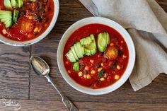 Tomaattinen papukeitto 5 minuutissa: Ruoka-alkemisti Food Food, Chili, Salsa, Soup, Ethnic Recipes, Red Peppers, Chile, Chilis, Soups