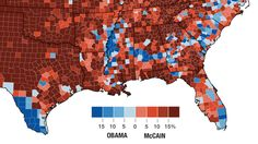 See that thin strip of Obama supporters in the South? That thin strip had one of the highest concentrations of slaves, because it had the most fertile land for cotton, because 100 million years ago it was actually a coastline where plankton flourished and fertilized the soil. So prehistoric ecology influences our elections.