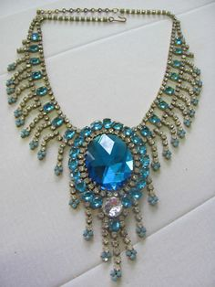 Czech Rhinestone Fray Bib Necklace