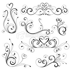 A various flora designs is good for valentine's day. Flora Design, Scroll Pattern, Scroll Design, Free Vector Art, Pyrography, Doodle Art, Swirls, Embroidery Patterns, Quilting Patterns