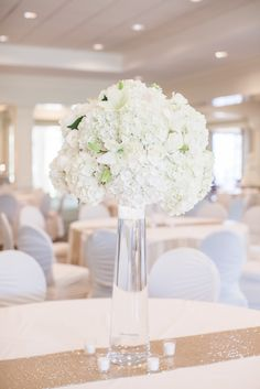 Hoover Country Club Weddings. Summer wedding. White linens, white hydrangeas, gold table runners, candles, main dining room, ballroom.