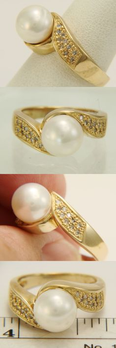 Pearl 11021: 14K Yellow Gold Tahitian Circle Pearl And Diamond Solitaire Ring 7.0 Grams -> BUY IT NOW ONLY: $325 on eBay!