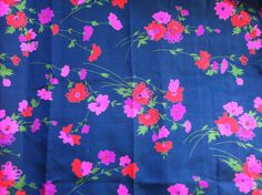 Gorgeous Blue Pink and Red Floral Thai Silk by Sewlovetextiles, $18.00