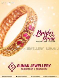 Brides Pride!  Experience the #Traditional & #Trendy #jewellery #designs that fabricated for gorgeous and incredibly stylish bride.   #suman_jewellery #Bridal_collection #bangle #gold #craftsmanship