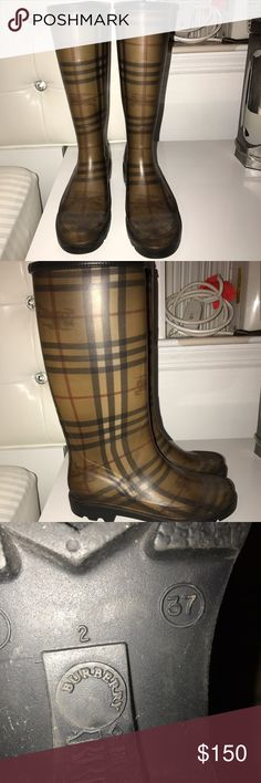 Burberry Rainboots, great condition! Classic Burberry rainboots, great condition! Never go out of style Burberry Shoes Winter & Rain Boots