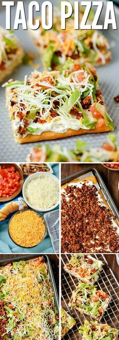 "TACO PIZZA An easy family dinner (you can even make it the night before) or a tasty appetizer. Kids love this recipe and the cream cheese/sour cream ""sauce"" and spicy taco flavor are a hit with adults too. # easy dinner recipes for 4 TACO PIZZA Taco Pizza Recipes, Mexican Food Recipes, Healthy Recipes, Tofu Recipes, Casserole Recipes, Mexican Meat, Dip Recipes, Pepperoni Recipes, Mexican Pizza"