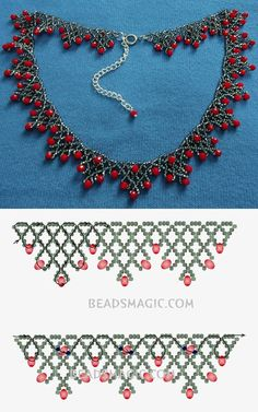 Free pattern for necklace Sorbo seed beads 11/0 rondelle crystals - fánk gyöngy 4*6 mm