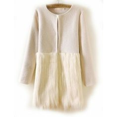 Apricot Long Sleeve Contrast Fur Coat