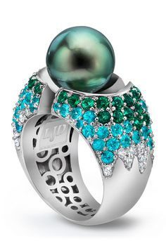 White Gold Divided Ring The ring is created with rare paraiba tourmaline, green sapphire and white diamond melee.♥≻★≺♥