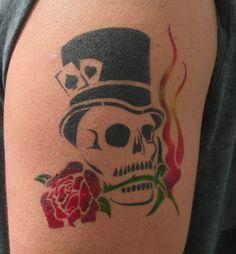Flaming Skull Airbrush Tattoo