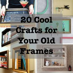 20 Cool Crafts For Your Old Frames - Homeschool Giveaways Empty Picture Frames, Empty Frames, Old Frames, Frames Ideas, Picture Frame Projects, Crafts With Picture Frames, Picture Ideas, Home Crafts, Fun Crafts