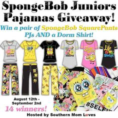 It's Back To School time, & while you're shopping for clothes, backpacks & supplies, enter SpongeBob Giveaway too! 14 winners will receive Pajamas & Shirts!