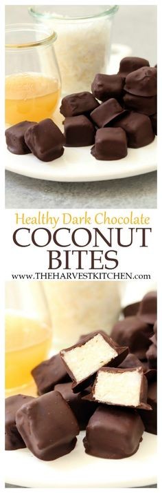 These Healthy Dark Chocolate Coconut Bites are little squares of pure chocolate and coconut bliss. They come together in just 10 minutes and they offer a healthy dose of good fats (coconut oil), antioxidants (dark chocolate) and iron and fiber (coconut). | healthy recipes | | healthy desserts | | clean eating |
