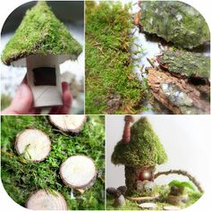 "Tutorial from ""Daily Colours : [adorable!] Fairy Houses - Moss Fairy House"" but looks like for indoor use only given that the base is toilet paper roll!"