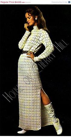 Celebration SALE Disco Crochet Dress Pattern, vintage crochet pattern, granny square, granny square dress, sexy crochet, 70s fashion