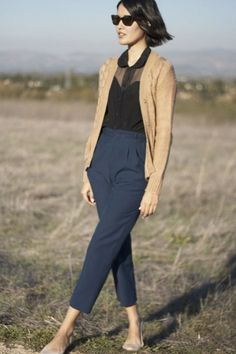 What to Wear This Weekend: Sheer Blouse, Navy Ankle Pant, Cardigan, Flats