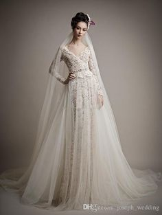 2017 French Lace Long Sleeve Wedding Dress Detachable Train V Neckline Wedding Dresses Two Pieces Bridal Gowns On Sale Wedding Dresses Satin A Line Wedding Dress From Joseph_wedding, $152.77| Dhgate.Com