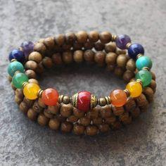 108 Bead Yoga Mala, Multicolor Gemstones Chakra Necklace or Bracelet Chakra Necklace, Chakra Jewelry, Yoga Jewelry, Chakra Beads, Crystal Jewelry, Gemstone Jewelry, Beaded Jewelry, Beaded Bracelets, Healing Bracelets