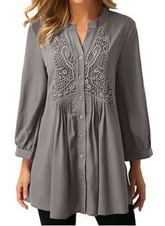 Latest fashion trends in women's Blouses. Shop online for fashionable ladies' Blouses at Floryday - your favourite high street store. Long Sleeve Tunic, Short Sleeve Blouse, Long Sleeve Shirts, Tunic Shirt, Shirt Blouses, Lace Shirts, Latest Fashion For Women, Latest Fashion Trends, Blouse Styles