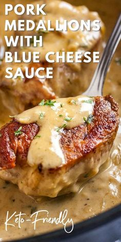 One skillet pork tenderloin medallions with an easy blue cheese sauce are a perfect weeknight comfort food dinner! this easy recipe is keto friendly and so delicious porkmedallions ketorecipes dinner bluecheese skillet enchiladas easy enchilada Pork Tenderloin Medallions, Sauce For Pork Tenderloin, Easy Pork Tenderloin Recipes, Pork Loin, Blue Cheese Sauce, Cashew Cheese, Cheese Sauce For Steak, Blue Cheese Chicken, Gourmet