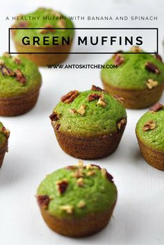 Green Muffins is a healthy breakfast banana muffin recipe with spinach and banana. It is easy and basic spinach banana smoothie muffins to make in 40 mins. #antoskitchen #green #muffins #healthy #breakfast