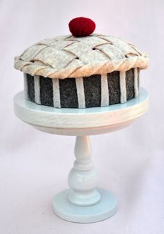 Handmade mini felt pie with lattice crust and a by TheSugarStand, $20.00
