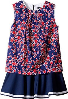 Oscar de la Renta Childrenswear Baby Girls Graphic Floral Cotton Multi Layer Dress ToddlerLittle KidsBig Kids NavyCherry Dress ** Learn more by visiting the image link.Note:It is affiliate link to Amazon.
