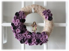Mothers Day Garden Fairy Yarn Wreath Tan Purple by TheLandofCraft, $40.00
