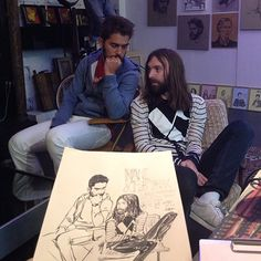Yue Wu has taken over Le Salon (Atelier Galerie) and has been drawing people for two weeks! I really wish I was in Paris for this! If you are, here's the Facebook Event. It wraps up in two days but you might still be able to book a session!  Yue's drawn some famous faces, Busy P, Breakbot – take a look below! PS I stole all these images from his Instagram, follow him @wuyue5.