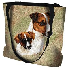 Jack Russell Terrier Dog with Puppy Portrait Tote Bag