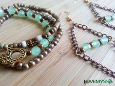 Gypsy Bracelet and Earring Set  mint green czech by LoveMyssa  www.lovemyssa.etsy.com