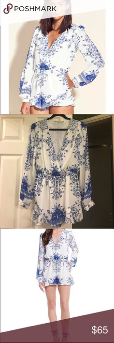 Lovers + Friends white long sleeve romper. Size M Long sleeve white Lovers + Friends romper with beautiful blue floral design. Bought on posh but it's a little too big for me which is why I am selling. It's beautiful and flawless. Just needs a new home. Lovers + Friends Pants Jumpsuits & Rompers