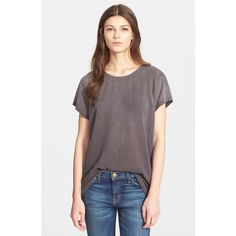 Current/Elliott 'The Crewneck' Oversize Mesh Tee ($98) ❤ liked on Polyvore featuring tops, t-shirts, castle, oversized tee, short sleeve tops, short sleeve tee, short sleeve t shirts and see through tops