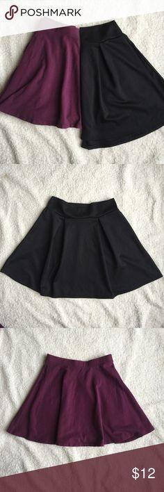 Skater Skirt Bundle Back to school steal deal!                                                2 skater skirts, both size small.                              Black: Charlotte Russe                                                   Purple: forever 21 Forever 21 Skirts Circle & Skater
