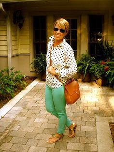 Polka dot shirt + green denim