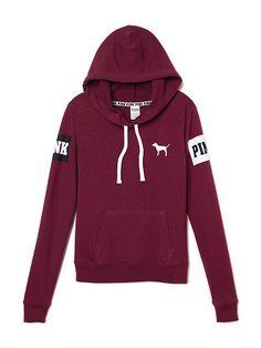 vs pink victoria's secret teenager teen girl outfit top sweatshirt pullover hoodie burgundy maroon dark red pink drawstrings cute inspiration